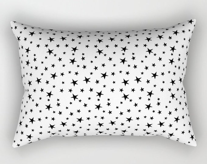 Lumbar Throw Pillow - Mini Star Print - Black on White - Rectangle Cover and Insert - 17x12 20x14 25.5x18 28x20