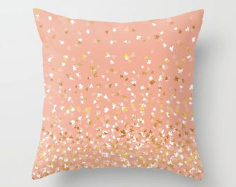 Throw Pillow - Floating Confetti Dots - Peach White Gold - Square Cover with Insert - 16x16 18x18 20x20 24x24