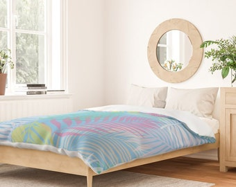 Duvet Cover or Comforter - Rainbow Layered Palms - Blue Pink Green Aqua - Twin XL Full Queen King - Microfiber or 100% Cotton - Shams Optnl