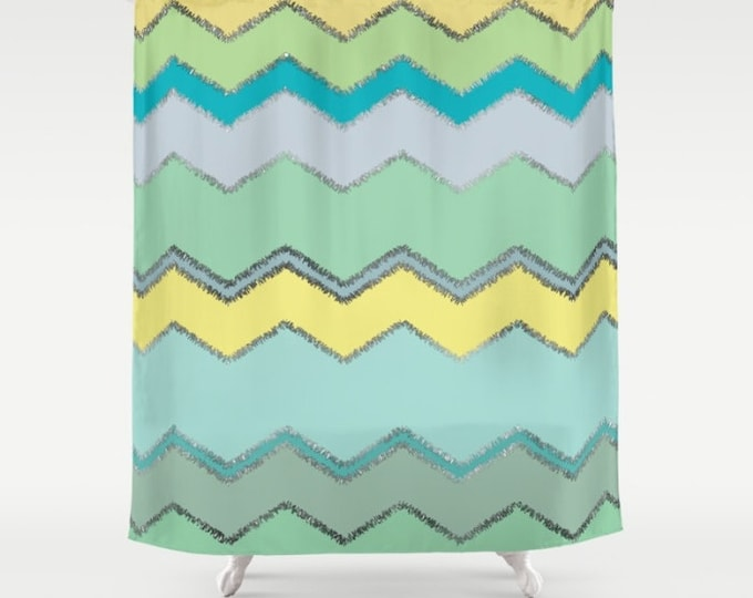"Shower Curtain - Multi Chevron and Brushed Silver - Green Blue Yellow - 71""x74"" - Bath Curtain Bathroom Decor Accessories"