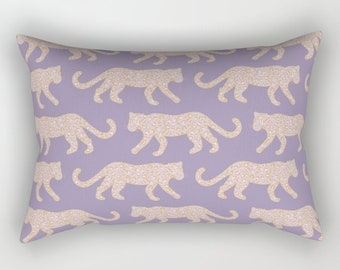 Lumbar Throw Pillow - Leopard Parade - Blush Pink on Lavender Purple - Rectangle Cover and Insert - 17x12 20x14 25.5x18 28x20