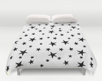 Duvet Cover or Comforter - Star Print - Black and White - Twin XL Full Queen or King - Bedroom Bed