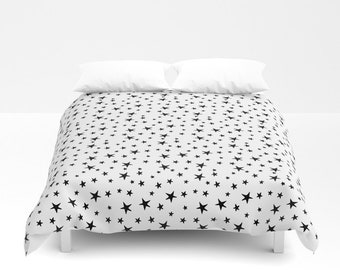 Duvet Cover or Comforter - Mini Star Print - Black on White - Twin XL Full Queen or King - Bedroom Bed - Shams Optional
