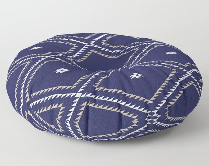 "Oversized Floor Pillow - Navajo Pattern - Navy Blue White Tan - Round or Square - 26"" or 30"" - Throw Poof Pouf Cushion"