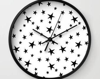 Wall Clock - Star Print - Black and White - Choose Frame & Hand Colors - Bedroom Decor Accessories Dorm Nursery Playroom