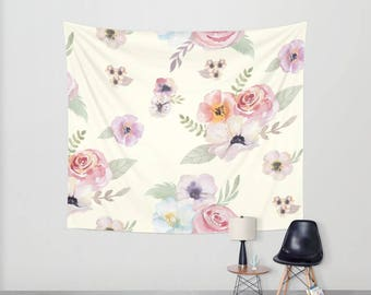 Wall Tapestry - Watercolor Floral I - Cream Ivory Pink - Small Medium or Large - Bedroom Decor Accessories Dorm Nursery Playroom