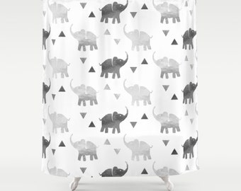 "Shower Curtain - Elephants & Triangles Print - Silver - 71""x74"" - Bath Curtain Bathroom Decor Accessories"