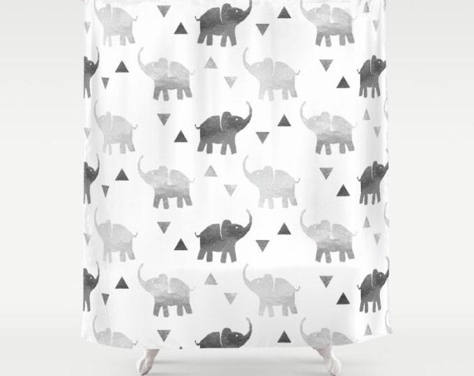 "Shower Curtain - Elephants & Triangles Print - Silver - 71""x74"" - Bath Curtain Bathroom Decor Accessories"