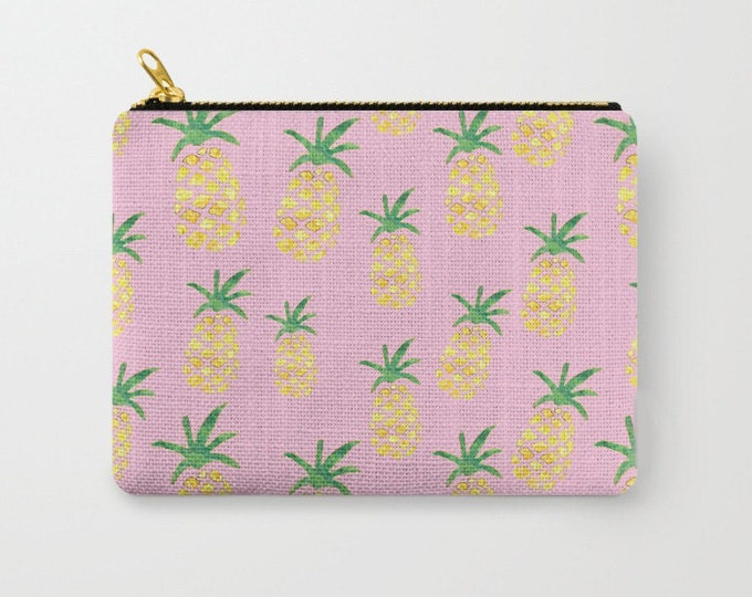 Zipper Pouch - Pineapple Print on Pink - Yellow Green and Gold - 3 Sizes Available