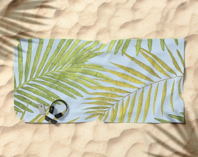 Oversized Beach Towel - Palms Against the Sky - Green Blue - Summer Vacation Bachelorette Party Bridesmaids - Bundle with a Tote & Pouch