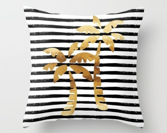Throw Pillow - Palm Trees and Stripes - Gold Black White - Square Cover with Insert - 16x16 18x18 20x20 24x24
