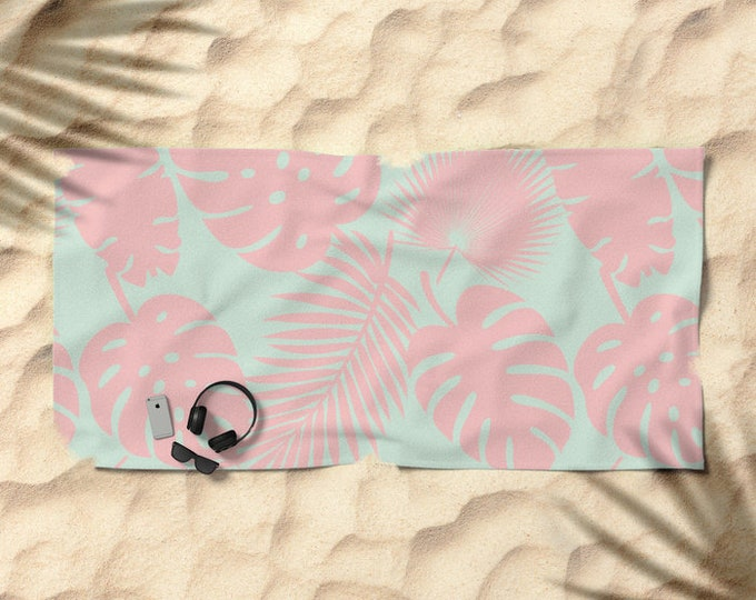 Oversized Beach Towel - Tropical Leaves - Blush on Aqua - Summer Vacation Bachelorette Party Bridesmaids - Bundle with a Tote & Pouch!