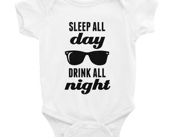 Sleep All Day Drink All Night - Sunglasses Graphic - Funny Baby One Piece Bodysuit - Black Ink - White Gray or Pink