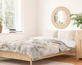 Duvet Cover or Comforter - Classic Marble with Gold Specks - Black White - Twin XL Full Queen King - Microfiber or 100% Cotton - Shams Optnl