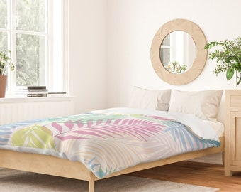 Duvet Cover or Comforter - Rainbow Layered Palms - White Blue Pink Aqua - Twin XL Full Queen King - Microfiber or 100% Cotton - Shams Optnl