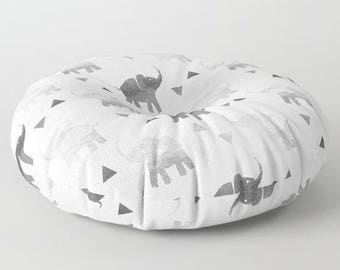 "Oversized Floor Pillow - Elephants & Triangles Print - White Gray Silver - Round or Square - 26"" or 30"" - Throw Poof Pouf Cushion"