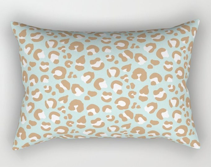Lumbar Throw Pillow - Leopard Spots - Mint Aqua Blush Pink Camel - Rectangle Cover and Insert - 17x12 20x14 25.5x18 28x20