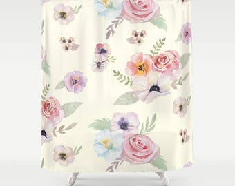 "Shower Curtain - Watercolor Floral I - Cream Ivory Pink - 71""x74"" - Bath Curtain Bathroom Decor Accessories - Optional: Bundle with Bath Mat"