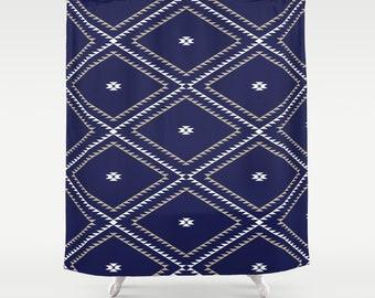 """Shower Curtain - Navajo Pattern - Navy Blue White Tan - 71""""x74"""" - Bath Curtain Bathroom Decor Accessories - Optional Bath Mat!"""