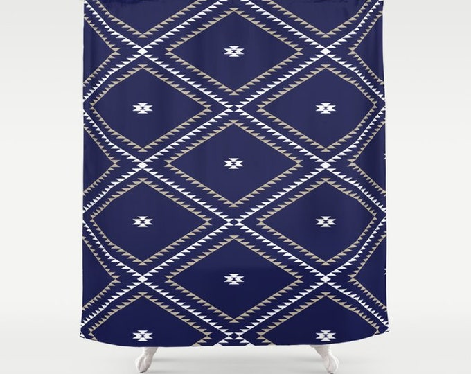 "Shower Curtain - Navajo Pattern - Navy Blue White Tan - 71""x74"" - Bath Curtain Bathroom Decor Accessories - Optional Bath Mat!"