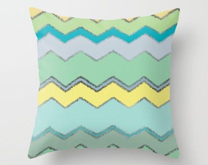 Throw Pillow - Multi Chevron and Brushed Silver - Green Blue Yellow - Square Cover with Insert - 16x16 18x18 20x20 24x24