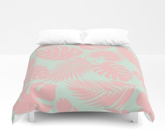 Duvet Cover or Comforter - Tropical Leaves - Blush on Aqua - Twin XL Full Queen or King - Bedroom Bed - Shams Optional