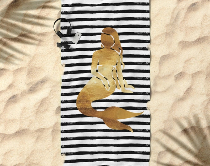 Oversized Beach Towel - Mermaid and Stripes - Gold Black and White - Bundle with a Tote and Pouch!