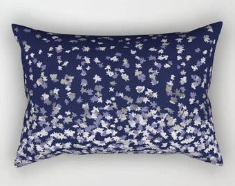 Lumbar Throw Pillow - Floating Confetti Dots - Lavender Silver Navy Blue - Rectangle Cover and Insert - 17x12 20x14 25.5x18 28x20