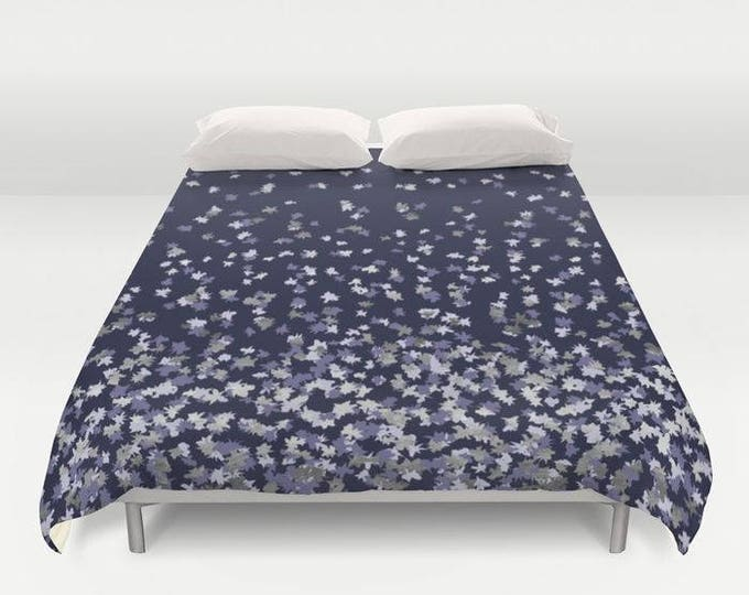 Duvet Cover or Comforter - Floating Confetti Dots - Lavender Silver Navy Blue - Twin XL Full Queen or King - Bedroom Bed