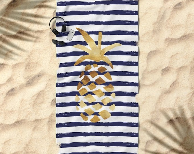 Oversized Beach Towel - Pineapple and Stripes - Gold Navy and White - Bundle with a Tote!