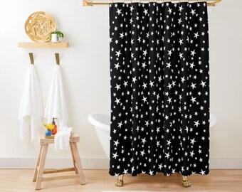 "Shower Curtain - Mini Star Print - White on Black - 71""x74"" - Bath Curtain Bathroom Decor Accessories - Optional: Bundle with a Bath Mat!"
