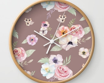 Wall Clock - Watercolor Floral I - Cocoa Brown Pink - Choose Frame & Hand Colors - Bedroom Decor Accessories Dorm Nursery Playroom