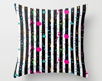 Throw Pillow - Stripes and Paint Splatter - Black White Neon Rainbow - Square Cover with Insert - 16x16 18x18 20x20 24x24