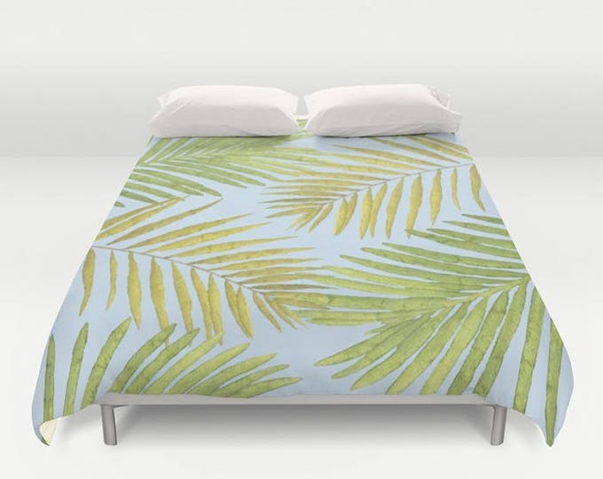 Duvet Cover or Comforter - Palms Against the Sky - Green Yellow Light Blue - Twin XL Full Queen or King - Bedroom Bed - Shams Optional