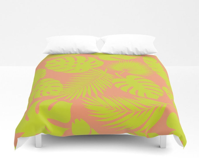 Duvet Cover or Comforter - Tropical Leaves - Lime on Coral - Twin XL Full Queen or King - Bedroom Bed - Shams Optional