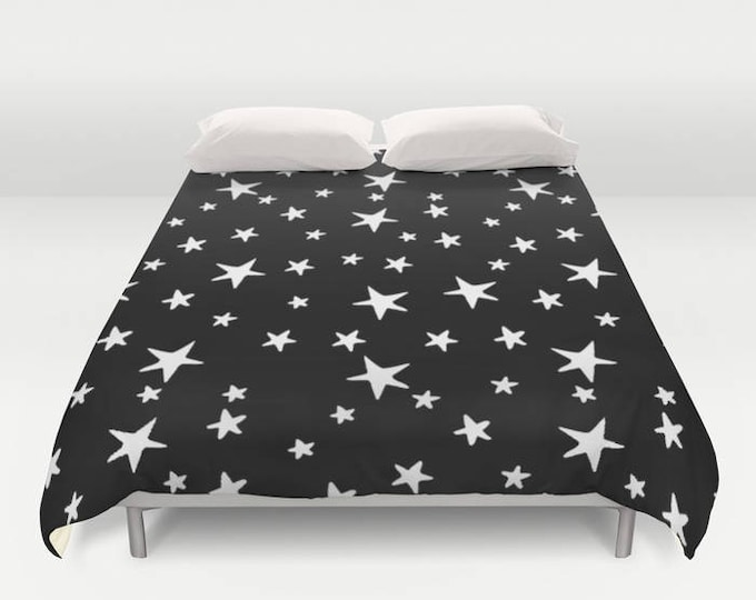 Duvet Cover or Comforter - Star Print - White on Black - Twin XL Full Queen or King - Bedroom Bed