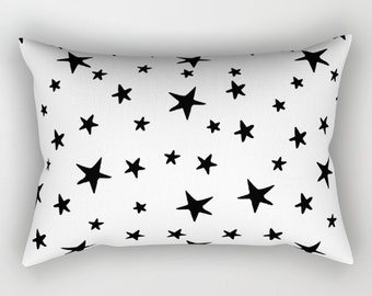 Lumbar Throw Pillow - Star Print - Black and White - Rectangle Cover and Insert - 17x12 20x14 25.5x18 28x20