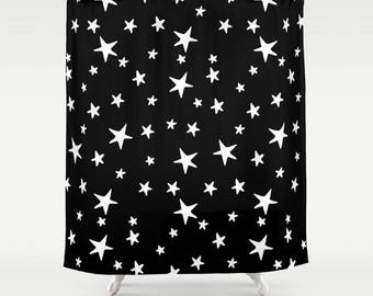 "Shower Curtain - Star Print - White on Black - 71""x74"" - Bath Curtain Bathroom Decor Accessories - Optional: Bundle with a Bath Mat!"
