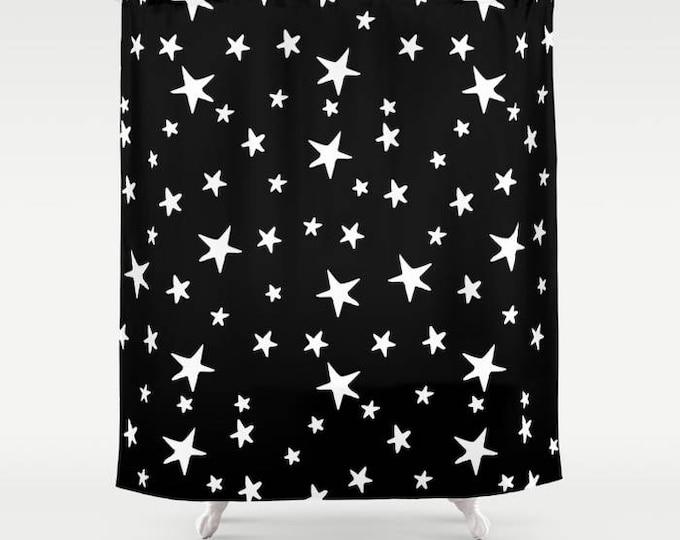 "Shower Curtain - Star Print - White on Black - 71""x74"" - Bath Curtain Bathroom Decor Accessories - Optional: Bundle with a Bath Mat!"