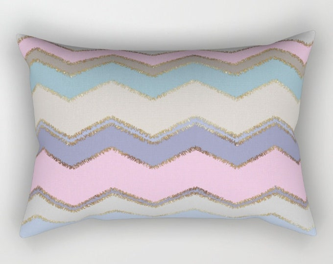 Lumbar Throw Pillow - Multi Chevron and Brushed Gold - Pink Purple Blue Tan - Rectangle Cover and Insert - 17x12 20x14 25.5x18 28x20