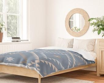 Duvet Cover or Comforter - Navajo Pattern - Denim Blue Brown Beige - Twin XL Full Queen or King - Microfiber or 100% Cotton - Shams Optional