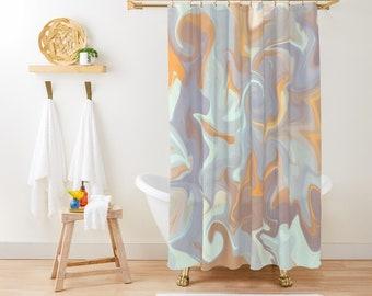 "Shower Curtain - Marble Desert - Purple Mint Orange Beige - 71""x74"" - Bath Curtain Bathroom Decor Accessories - Optional Bath Mat!"