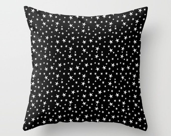 Throw Pillow - Mini Star Print - White on Black - Square Cover with Insert - 16x16 18x18 20x20 24x24