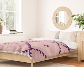 Duvet Cover or Comforter - Navajo Pattern - Blush Pink Eggplant - Twin XL Full Queen or King - Microfiber or 100% Cotton - Shams Optional