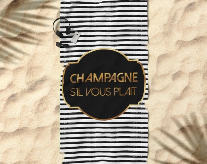 Oversized Beach Towel - Champagne S'il Vous Plait - Badge and Stripes - Gold Black and White