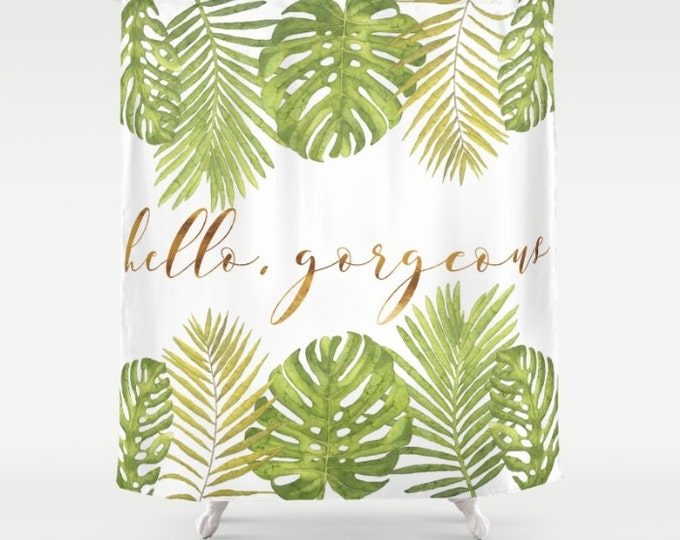 "Shower Curtain - Hello Gorgeous Palm Leaves - Green Gold White - 71""x74"" - Bath Curtain Bathroom Decor Accessories"