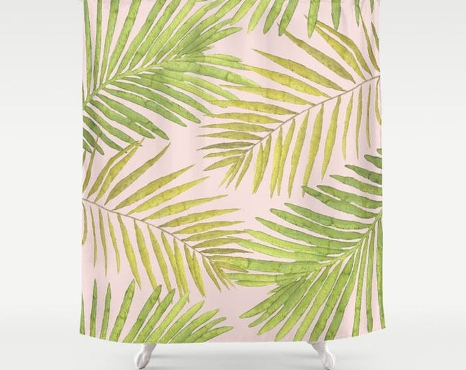 "Shower Curtain - Palms Against Blush - Pink Green Yellow - 71""x74"" - Bath Curtain Bathroom Decor Accessories"