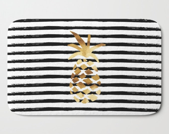 "Bath Mat - Pineapple and Stripes - Gold Black and White - 17""x24"" or 21""x34"" - Bathroom Shower Tub Decor Accessories"