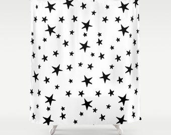 "Shower Curtain - Star Print - Black and White - 71""x74"" - Bath Curtain Bathroom Decor Accessories - Optional: Bundle with a Bath Mat!"