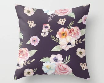 Throw Pillow - Watercolor Floral I - Eggplant Purple Pink - Square Cover with Insert - 16x16 18x18 20x20 24x24